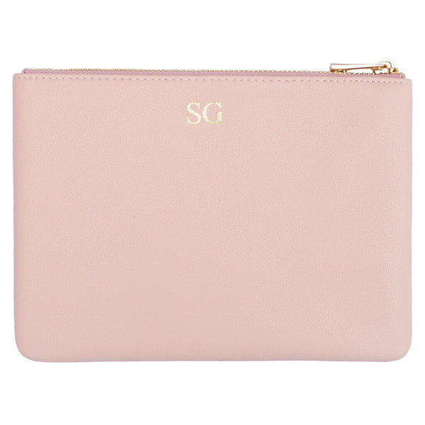 blush pink pouch personalised with monogram