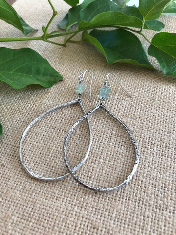 Antique Silver Seaglass Teardrop Earrings