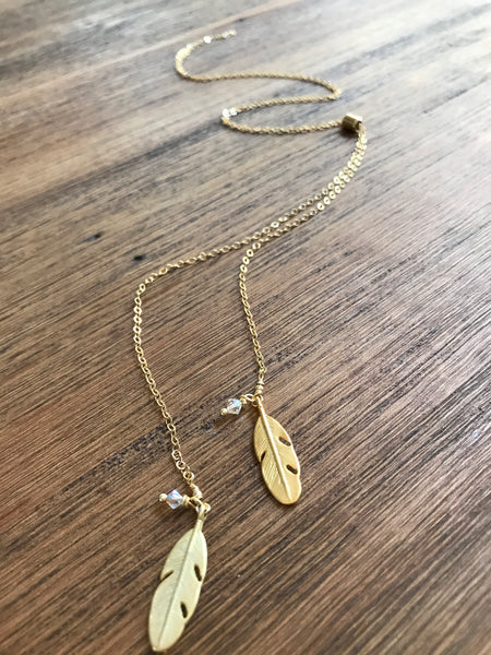 Small Double Feather Slide Necklace