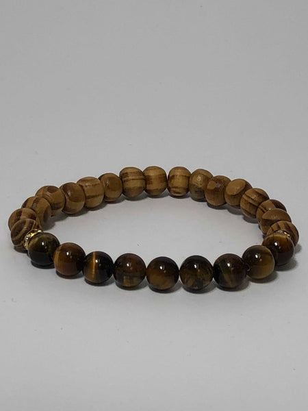 Tiger Eye and Bamboo Wooden Bead Stretch Bracelet