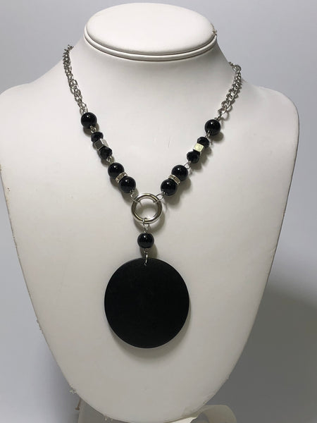 Black Wooden Circle Necklace