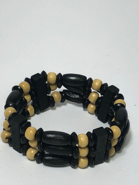 Black and Tan Wooden Bead Multi Layer Bracelet