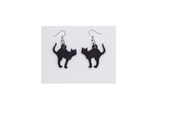 Wooden Black Cat Earrings