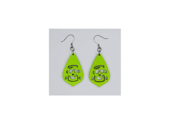 Wooden Frankenstein's Monster Earrings