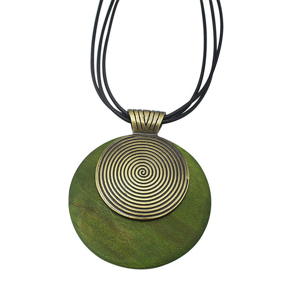 Necklace with Round Wooden Pendant