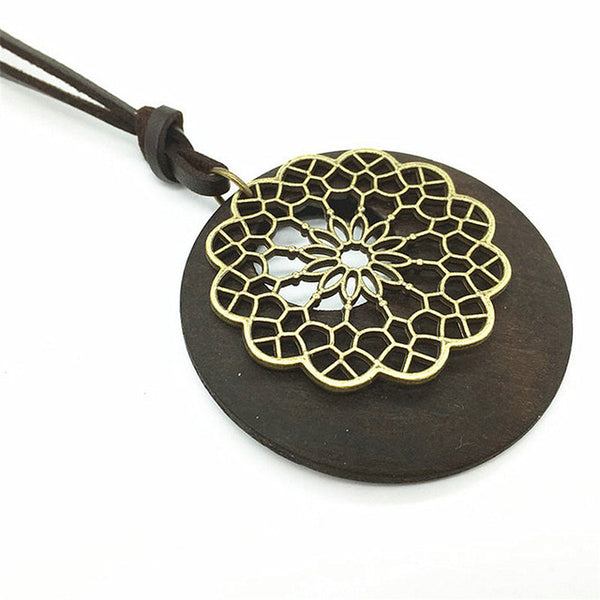 Leather Necklace with Handcrafted Flower on Wood Pendant