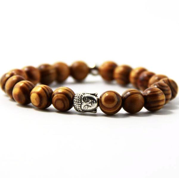 Wooden Prayer Beads Bracelet with Buddha Head