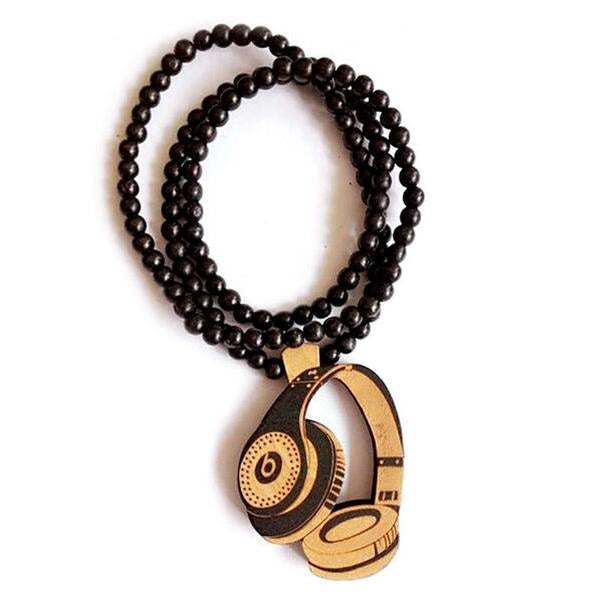 Trendy Wooden Necklace with Wooden Headset Pendant