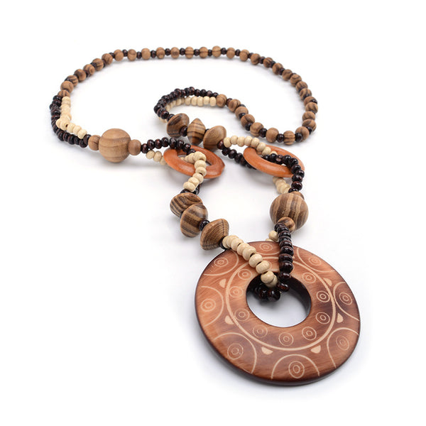 Exotic Hollow Round Wood Bead Necklace