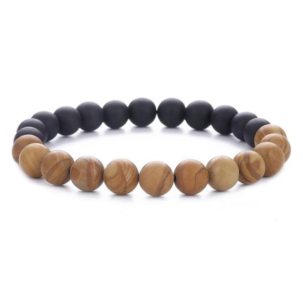 Dual Color Natural Wood and Stone Beads Bracelet