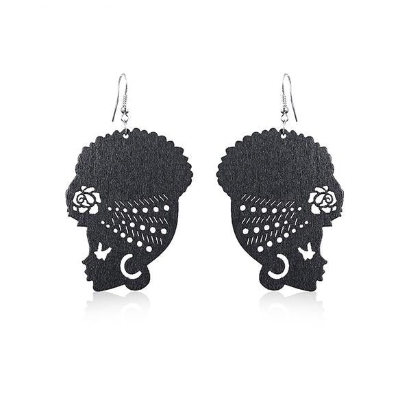 New Design African Head Wooden Earrings