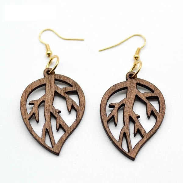 Wooden Earrings with Leaf Pattern Design