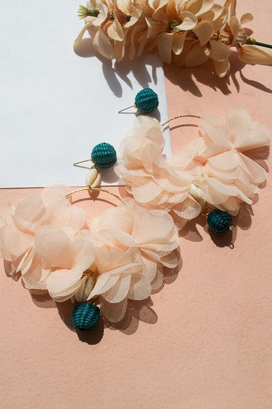 MAG ACCESSORIES STATEMENT EARRINGS PEACH AND GREEN