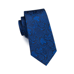 Blue Bandana Paisley Tie W/Handkerchief - Venture Travel City