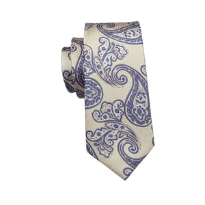 Cream Paisley Bandana Tie w/ Handkerchief - Venture Travel City