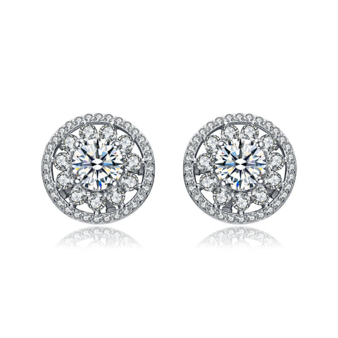 C.Z. Sterling Silver Pave Round Cubic Zirconia Stud Earrings