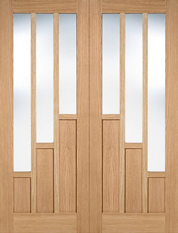 LPD Internal Oak Coventry Glazed Rebated Door Pairs Unfinished