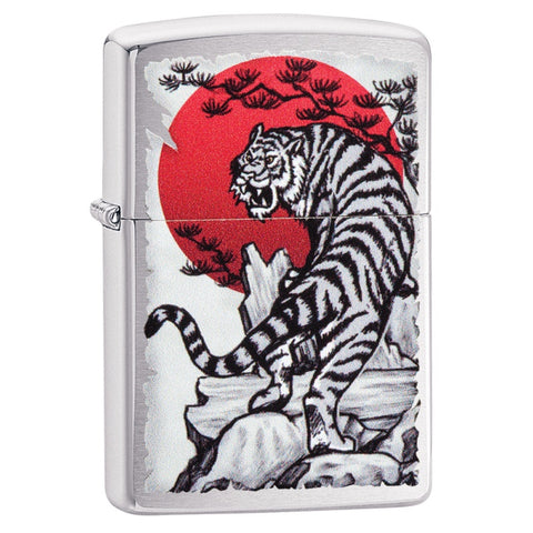 Zippo Classic Lighter - Asian Tiger - Brushed Chrome
