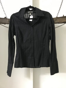 Veronika Maine black sheer pinstripe blouse Size 8