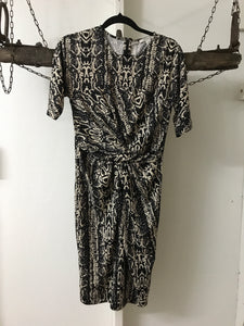 Country Road Black/Cream Snake Print Dress Size 6
