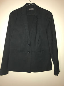 Jacqui E black/ white pinstriped skirt suit Size 14