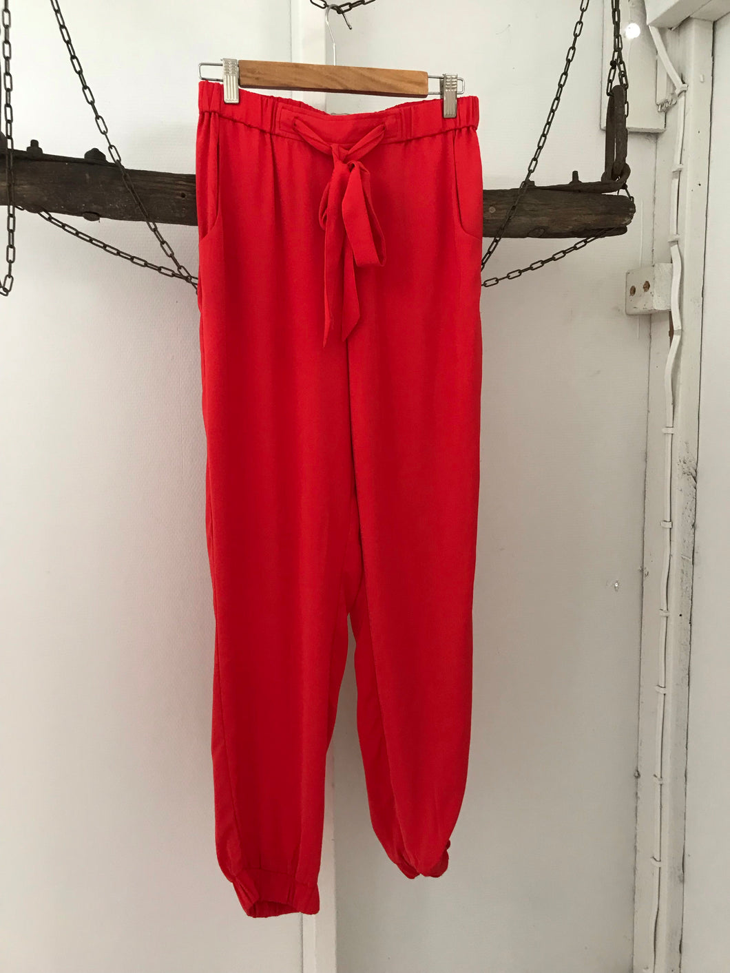 Forecast red pants with waist tie Size 10