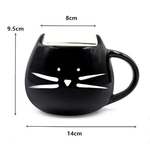 chat mug kawaii noir