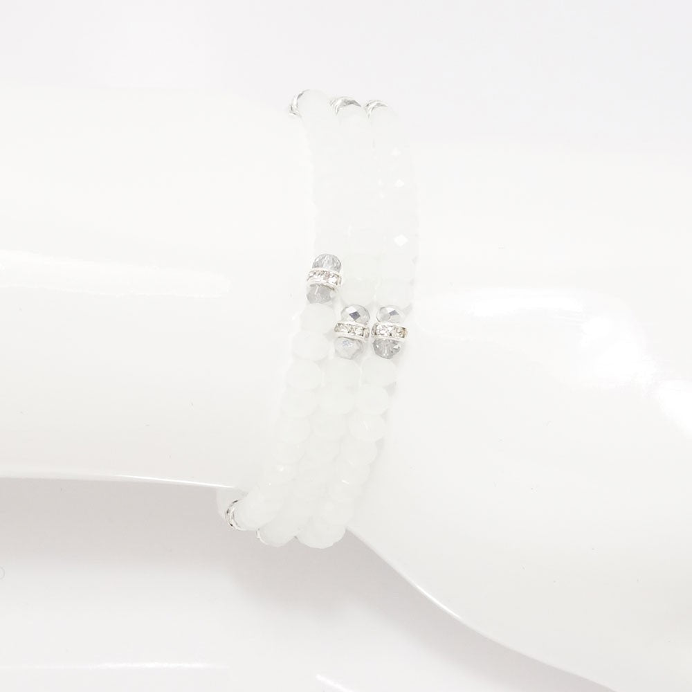 Frosted White Silver Crystal Triple Wrap Bracelet