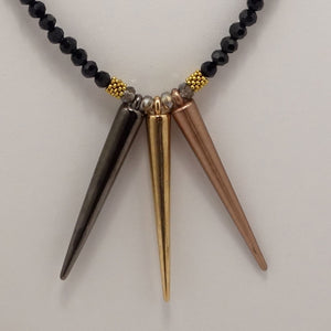 Gun Metal Gold Copper Spike Necklace