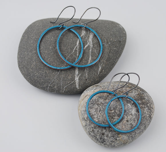 Denim Enameled Hoops Large and Small Sizes