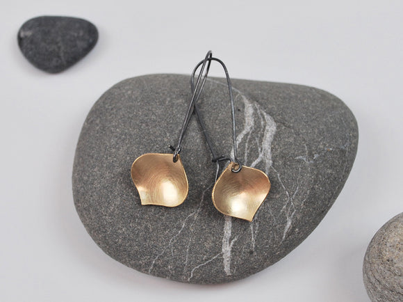 Golden Onion Earring--Brushed Gold Filled Metal on Oxidized Silver Kidney Earwires
