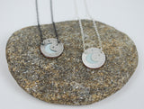 Tiny Moon and Stars--hand cut recycled silver layered over enameled copper