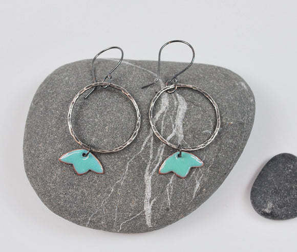 Tulip Hoops Turquoise Blossom Enameled Earring on Oxidized Silver