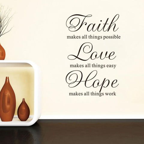 Faith Love Hope Wall Decal