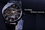 Men Black Bexel Skeleton Watch With Leather Straps - Amazing Steals N Deals