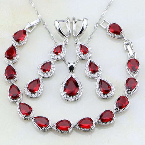 925 Sterling Silver Tear Drop Shaped Red And White CZ  Jewelry Set - Amazing Steals N Deals