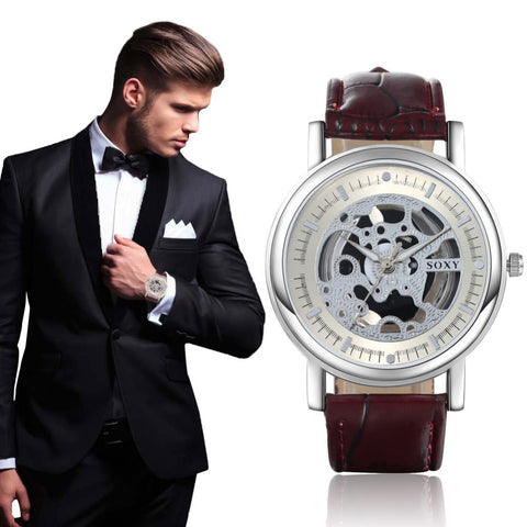 Men's Quartz Skeleton Watch With Leather Band - Amazing Steals N Deals
