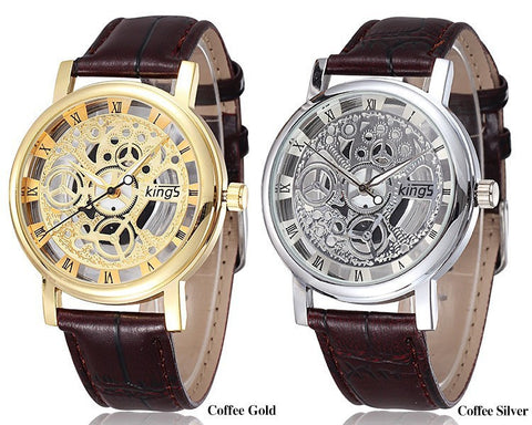 Men Skeleton Quartz Watch With Leather Straps - Amazing Steals N Deals