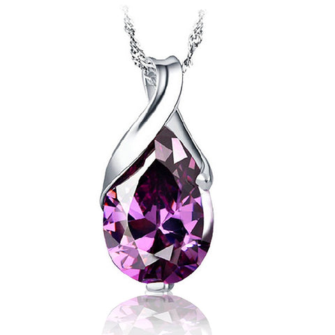 925 Sterling Silver Water Drop Purple CZ Pendant Necklace