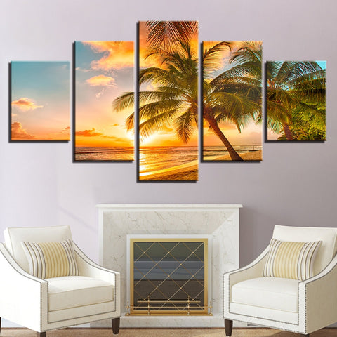 Sunset On A Beach 5 Panel Wall Art