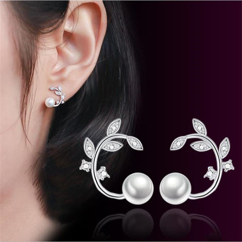 925 Sterling Silver Leaf And Simulated Pearl Stud Earrings