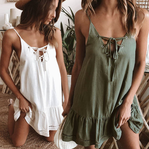 Lace - Up V Neck Sleeveless Solid Mini Dress