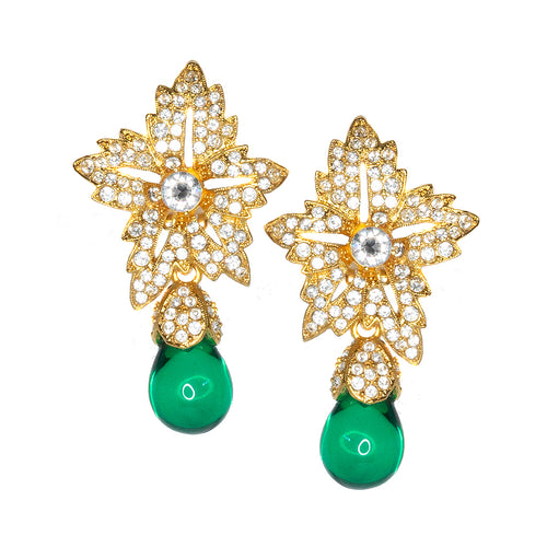 Flower Top Emerald Teardrop Clip Earrings