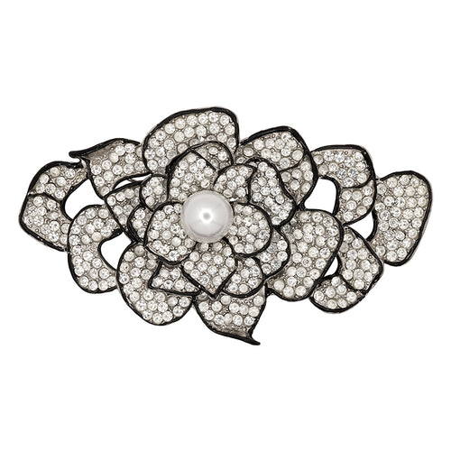 Pearl and Rhinestone Flower Pin