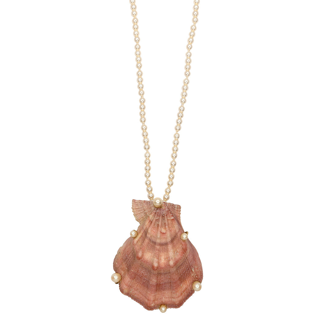 Pearl Vintage Natural Shell Pendant Necklace