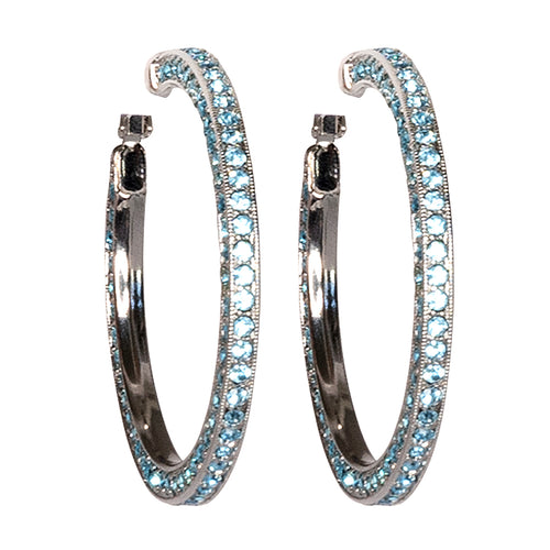 Aqua Pave Large Hoop Clip Earrings