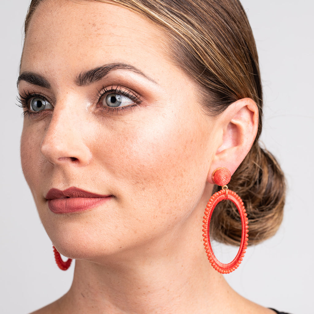 Coral Thread with Coral Beads Open Circle Pierced Earrings