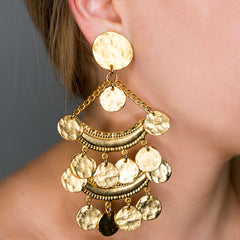 Satin Gold Two Row Coin Drop Clip Earrings
