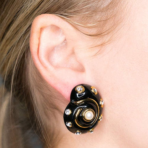 Gold Trim Black and Crystal Dots with Pearl Center Snail Clip Earrings