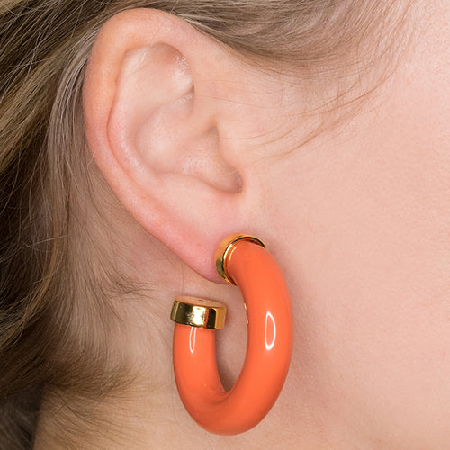 Coral Tube Hoop Pierced Earrings